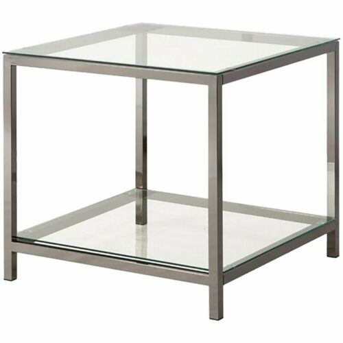 Coaster Glass Top End Table in Black Nickel