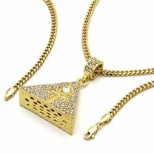 """14k Gold Plated HipHop Ankh Pyramid Iced Out Pendant 3mm 27"""" Cuban Chain Fashion"""