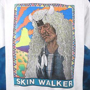 vintage-80s-SKIN-WALKER-NATIVE-AMERICAN-SUNSET-T-Shirt-L-XL-cowboy-indian-thin