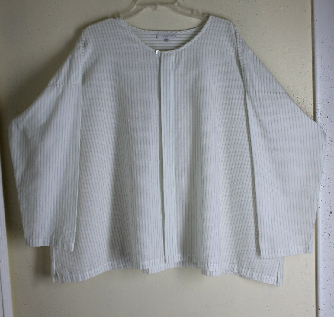 NEW Eskandar 1 Cool Weiß Cucumber Fine Cotton LightWeight Luxury Boxy Shirt Top