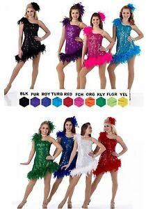 Express Yourself Dance Costume Feather Flapper Dress Tap Clearance Child & Adult