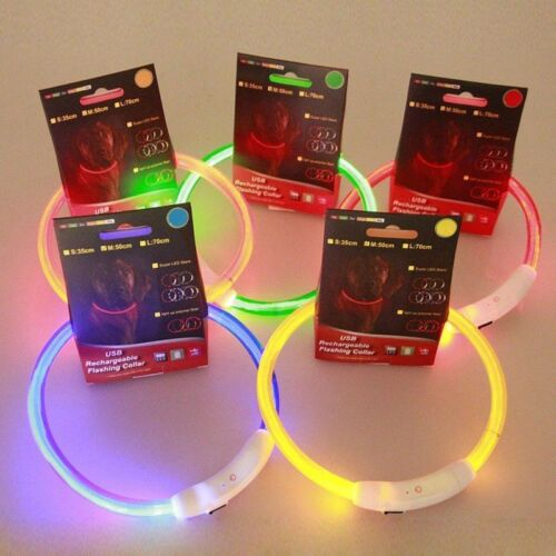USB LED Rechargeable Pet Dog Collar Flashing Light Up Safety Belt Waterproof ON