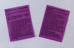 4-x-Purple-laminated-geocache-instructions-for-muggles-Geocaching-Cache-GPS