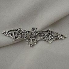 6pc Raw Brass Halloween Vampire Flying Bat Charms 4527