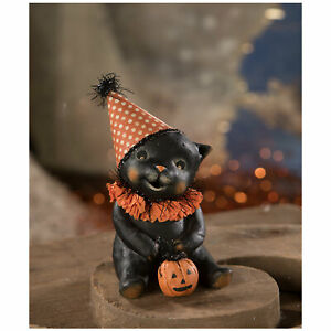 Bethany-Lowe-Binx-Black-Cat-Halloween-Party-Retro-Vntg-Home-Decoration-Figurine