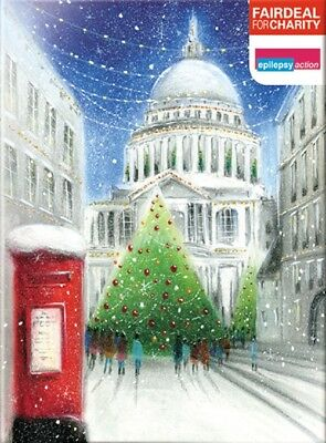 Box of 10 Skating Scene Woodland Trust Fairdeal Charity Christmas Cards Boxed