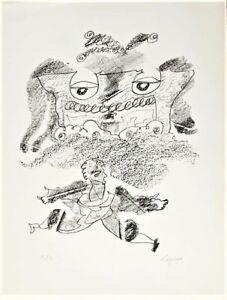 """LAPICQUE Charles - """"Portraits VIII : Le grand écart"""" - Lithographie - 1960"""
