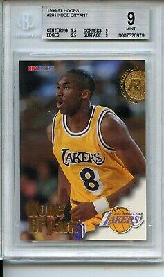 Kobe Bryant Rookie Card 1996-97 Hoops #281 Los Angeles Lakers BGS 9 Graded Card