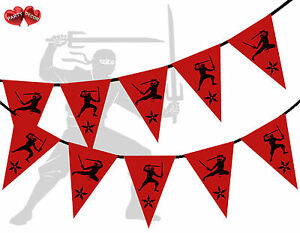 Red-with-Black-Print-Ninja-Themed-Bunting-Banner-15-flags-by-PARTY-DECOR