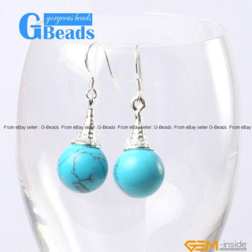 Fashion 10 mm ballon rond Beads Tibetan Silver Dangle Boucles d/'oreilles livraison gratuite