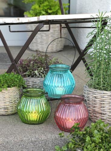 Deko Laterne Windlicht Glas Metallhenkel Garten Tischleuchte Kerzenhalter grün