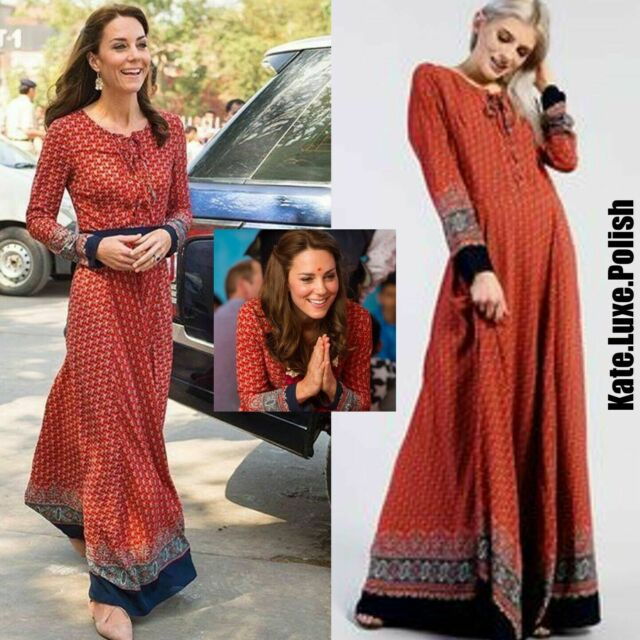 835d79a295 Glamorous Red Navy Border Long Sleeve up Maxi Dress Size M Lf089 Mm ...