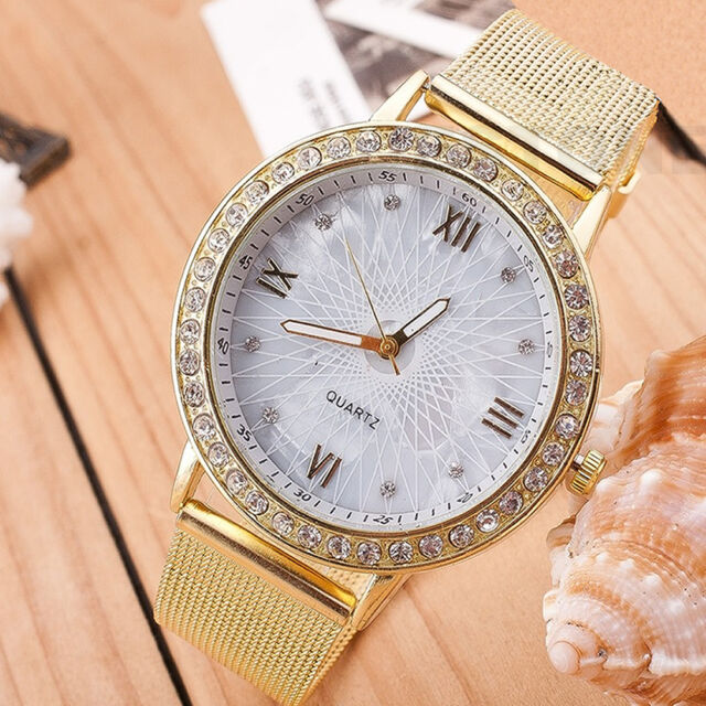 Elegant Womens Crystal Roman Numerals Golden Mesh Plated Metal Wrist Band Watch
