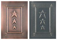 4 Punched Tin Panels Handcrafted Vertical Country Star Design In 2 Finishes Usa
