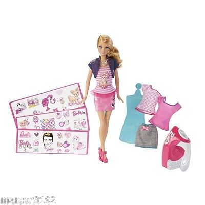 Permanent Decals New Mattel Barbie Iron-on-Style Doll Fashions /& Playset W// 30
