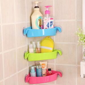Bathroom Corner Shelf Suction Rack Organizer Cup Storage Shower Wall Basket D