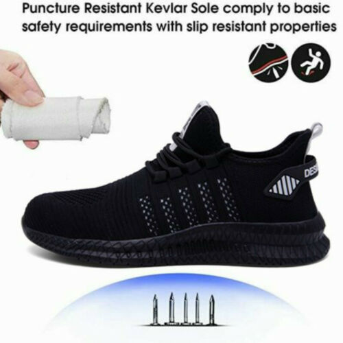 Mens Steel Toe Cap Work Shoes Puncture Proof Safety Protective Footwear Trainers