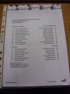 25-08-2011-Colour-Teamsheet-Tottenham-Hotspur-v-Heart-Of-Midlothian-Europa-Lea