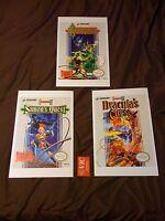 Castlevania Nes Trilogy, 3 11x17 Box Art Posters - Nintendo No Game Konami -