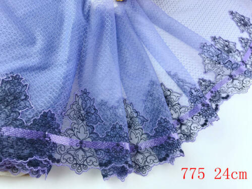 """9/""""*1yard Delicate Purple Embroidered flower tulle Lace Trim DIY Craft sewing 775"""