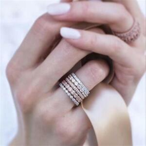 5pcs Women Sparkly Rose Gold Rhinestone Stackable Wedding Ring Set