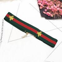 Embroidery Fashion Choker Red Green Striped Choker Jewelry Bee Stretch Collar