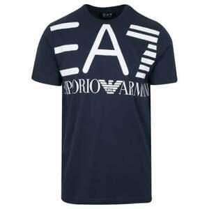 EA7-by-Emporio-Armani-in-cotone-Stampato-Logo-T-Shirt-Blu-Scuro