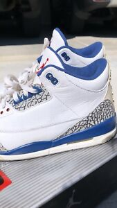 186fe760a3d7 Nike Air Jordan retro 3 III true blue white cement 2001 11.5 bred
