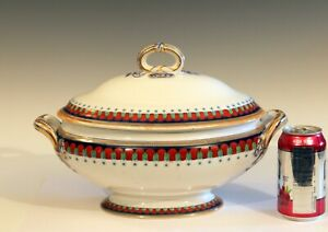 Antique-Minton-Tureen-Imari-English-Porcelain-Server-Serving-Covered-Bowl-14-1-2