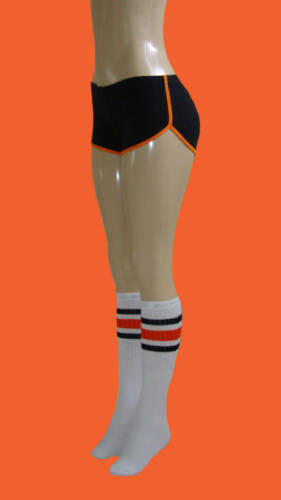 Black Retro Shorts w//Orange Trim and skatersocks-Small