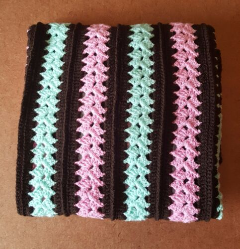 Handmade Crochet Baby Blanket Mint Pink and Chocolate