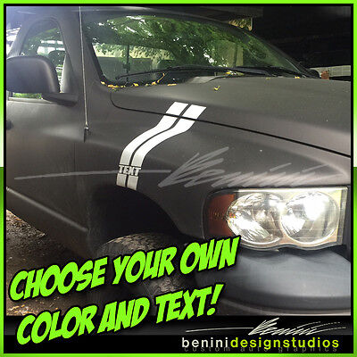 Dodge Ram 1500 2500 3500 All Years Fender Hood Hash Stripes 2004 and up