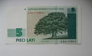 LATVIA-LETTLAND-5-LATI-1996-SERIE-AH-UNC-AUNC
