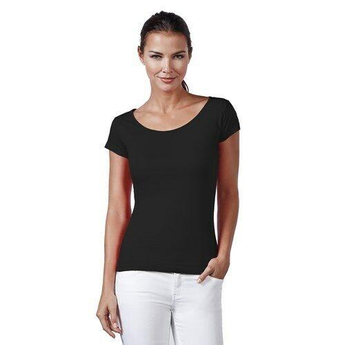 Neverless® Basic T-Shirt Damen Slim Fit Baumwolle einfarbig Weiter Rundhals