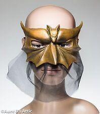 Mardi Gras Mask Gold Latex Demon Venetian Style Eye Mask With Netted Drape