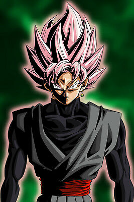 Dragon Ball Super Poster Goku Black Rose Glow Floating 12in x 18in Free Shipping