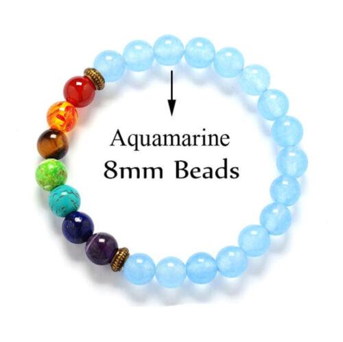7 Chakra Guérison Équilibre De Perles Bracelet pierres naturelles Yoga Reiki prière Pick