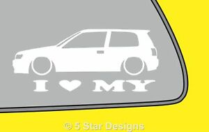 2x Love Low Nissan Sunny Pulsar N14 Car Silhouette Outline Sticker