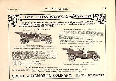 1911 GROUT 2 MODELS  CAR AD - VINTAGE  ORIGINAL