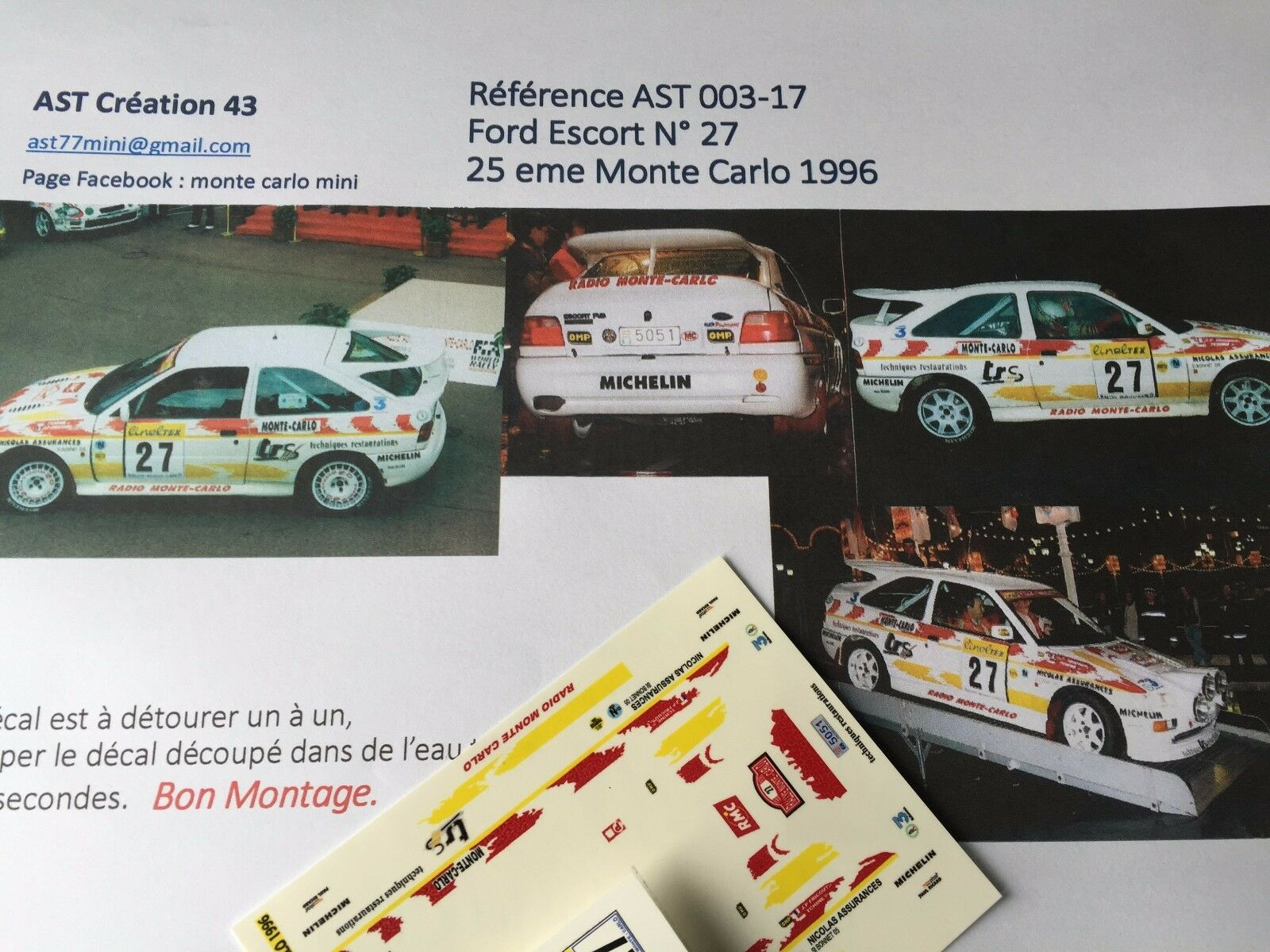 NEW DECAL 1 43 FORD ESCORT N°27 Rally WRC MONTE CARLO 1996 MONTECARLO