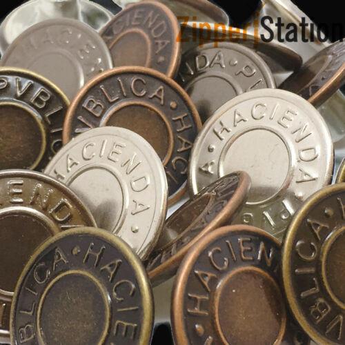 Choix de 4 couleurs Lot de 10 x 14 mm 19 mm ou 25 mm Marteau sur JEAN boutons