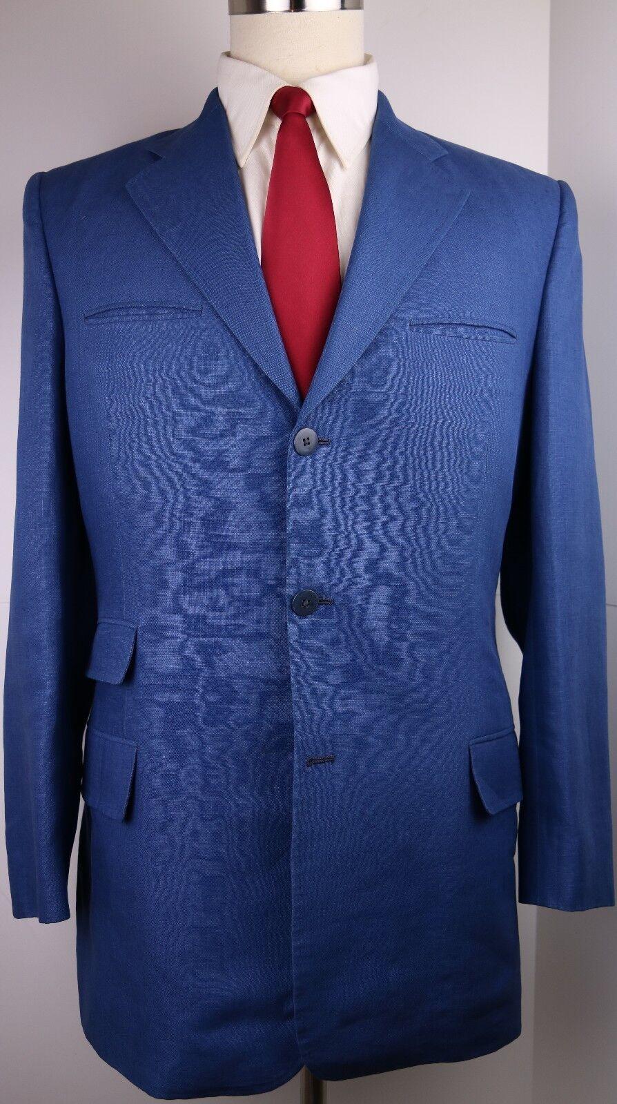 Nino Corvato Bespoke Blau Linen Three Button Side Vented Suit 40 L 33 32 Pants