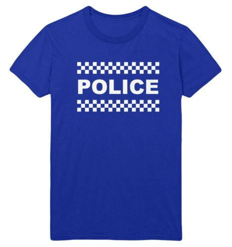 POLICE T Shirt Uomini Donne Bambini Fancy Dress Top Costume up outfit Idea Maglietta Donna