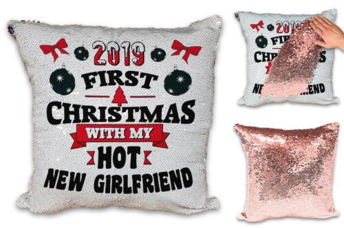 2019 Premier Noël avec Hot Nouveau Partenaire Sequin révéler Housse de Coussin Or Rose