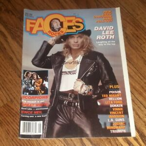 Faces Rocks May 1988 David Lee Roth Ozzy Osbourne Band 88 Pull Out poster POISON
