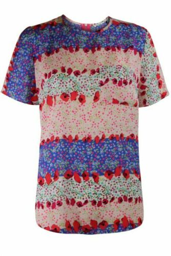 Womens Ivory Blue Pink Red Ditsy Floral Stripe Chiffon T Shirt Top Blouse 8-24