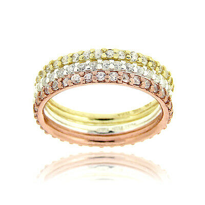 925 Silver Tri-Color Stackable CZ Eternity Band Rings Set