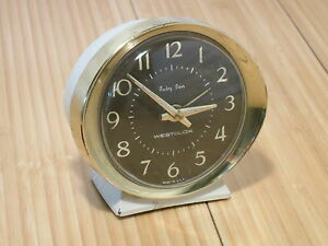 Vintage Westclox Baby Ben Wind Up Alarm Clock White Brown