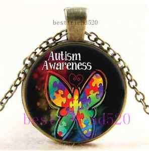 Fashion Vintage Cabochon Glass Autism Pendant Necklace Color Silver//Bronze