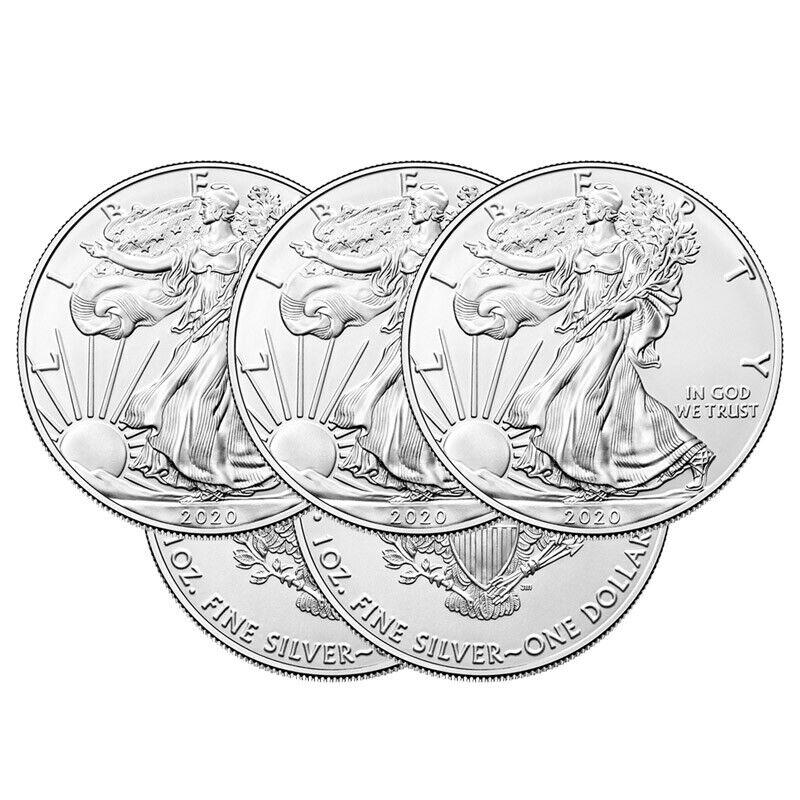 5 Silver American Eagle 1oz Coins